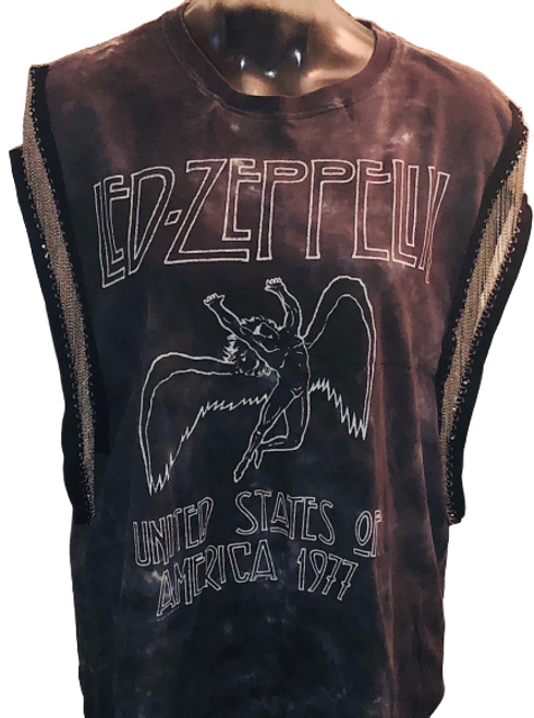 Led Zeppelin United States of America 1977 Tour Women's Vintage Tie-Dye Blue Sleeveless Metal Chain Tank Top Fashion Concert T-shirt by Trendy and  Tipsy