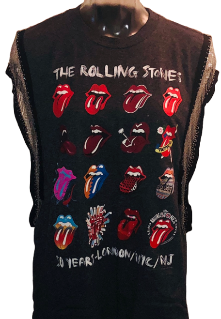 Rolling Stones Tongue Logos 50 Years NY, NJ, London Women's Vintage Sleeveless Metal Chain  Charcoal Gray Tank Top Fashion T-shirt by Trendy and Tipsy