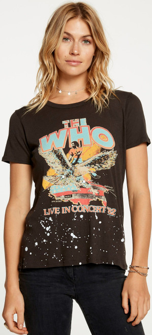 The  Who Live in Concert '82 Women's Vintage Black Distressed Concert Fashion T-shirt by Chaser - front