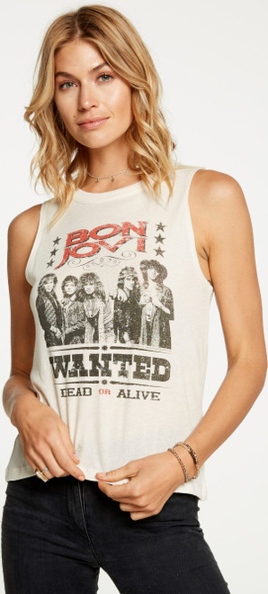 Bon Jovi Wanted Dead or Alive Women's Vintage White Sleeveless Muscle Tank Top Fashion T-shirt by Chaser - left