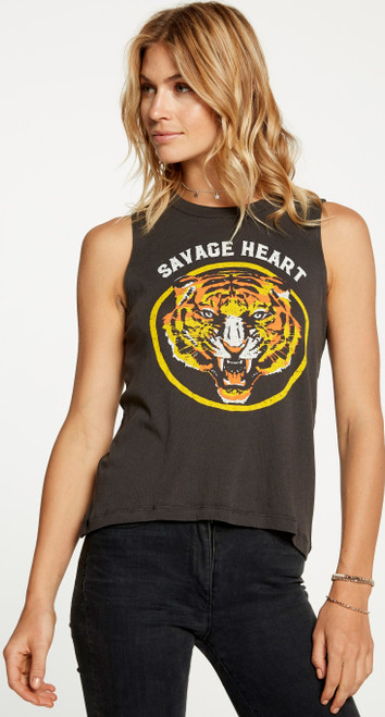 Savage Heart Tiger Head Image Women's Black Vintage Sleeveless Muscle Tank Top Fashion T-shirt by Chaser - front