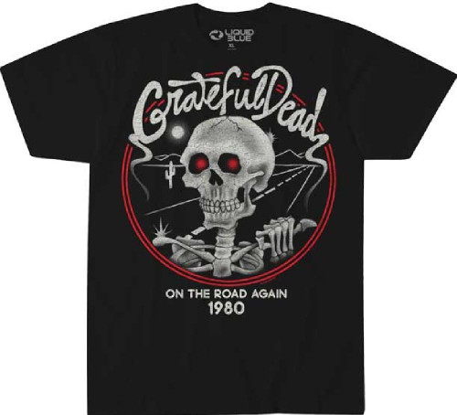 Grateful Dead On the Road Again 1980 Men's Black Concert T-shirt