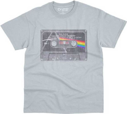 Pink Floyd The Dark Side of the Moon Cassette Tape Image Men's Gray Vintage Fashion T-shirt