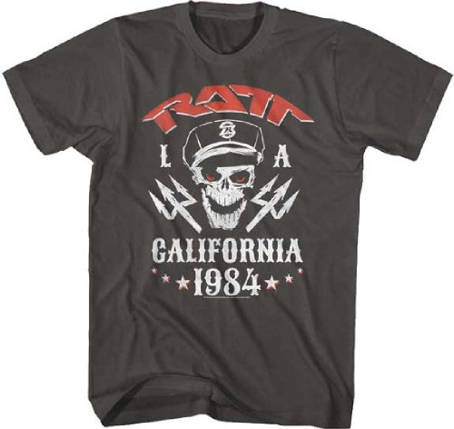 Ratt Capped Skull LA Los Angeles California 1984 Men's Unisex Gray T-shirt