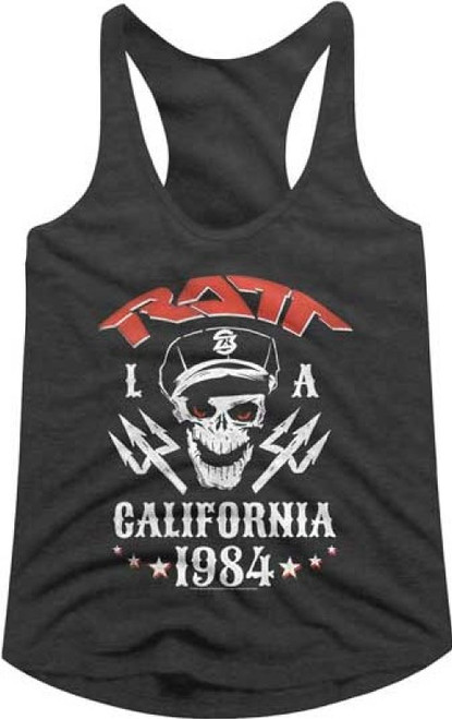 Ratt Capped Skull LA Los Angeles California 1984 Women's Gray Heather Racerback Tank Top Fashion T-shirt