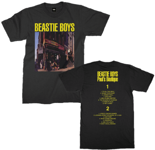 Beastie Boys Paul's Boutique Album Cover Artwork with Song List Men's Unisex Black T-shirt