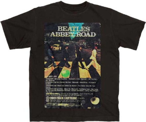 The Beatles Abbey Road Eight 8-Track Cartridge Cassette Album Cover Artwork Men's Unisex Black Vintage Fashion T-shirt