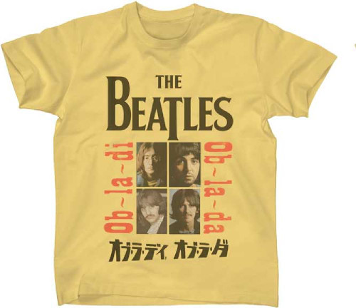 The Beatles Ob-La-Di Ob-La-Da Japanese Song Single Album Cover Artwork Men's Unisex Yellow Vintage Fashion T-shirt