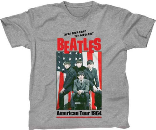 The Beatles American Tour 1964 Men's Unisex Heather Gray Vintage Fashion Concert T-shirt
