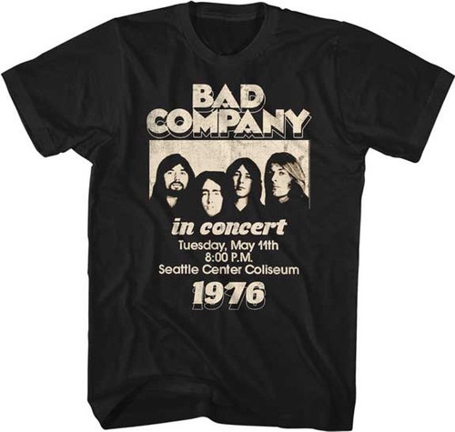 Bad Company In Concert Seattle Coliseum May 11, 1976 Promotional Poster Artwork Men's Unisex Black Vintage Fashion Concert T-shirt