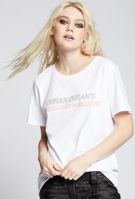 Duran Duran Red Carpet Massacre All Access Press Badge Women's Vintage Fashion White T-shirt by Recycled Karma - left front