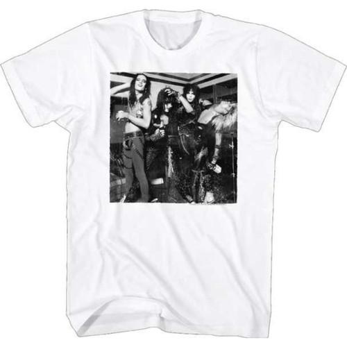 Motley Crue Classic Black and White Band Photograph Men's Unisex White Vintage Fashion T-shirt