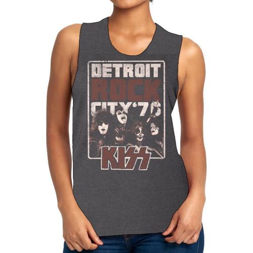 KISS Detroit Rock City 1976 Women's Charcoal Gray Vintage Fashion Sleeveless Muscle Tank Top T-shirt