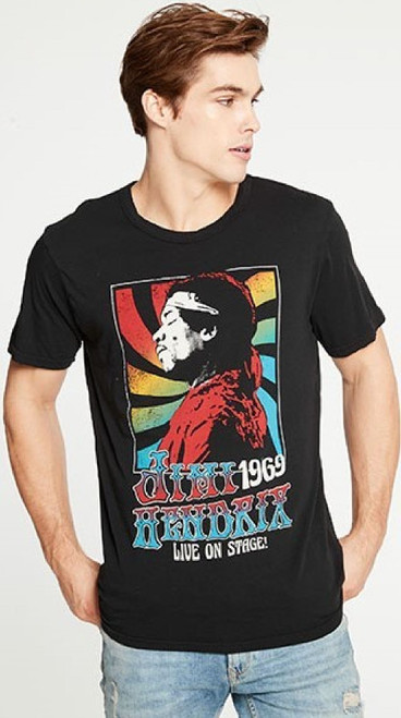 Jimi Hendrix Live on Stage 1969 Men's Black Vintage Fashion Concert T-shirt by Chaser