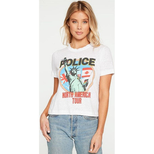 The Police North America Tour 1983 Women's White Cropped Vintage Fashion Concert T-shirt by Chaser - front