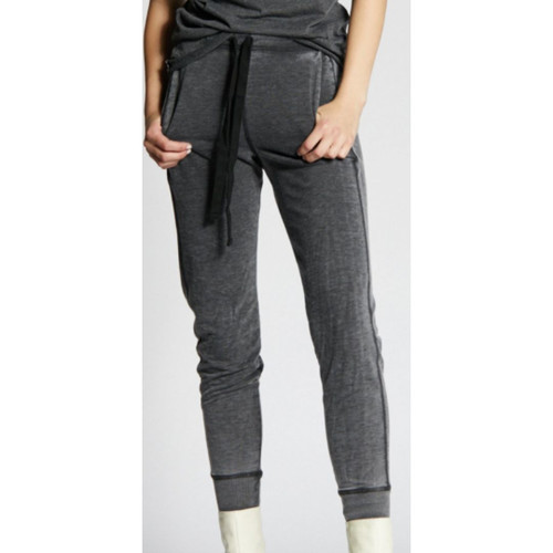 Women's Black Vintage Fashion Jogger Pants by Recycled Karma - front close up