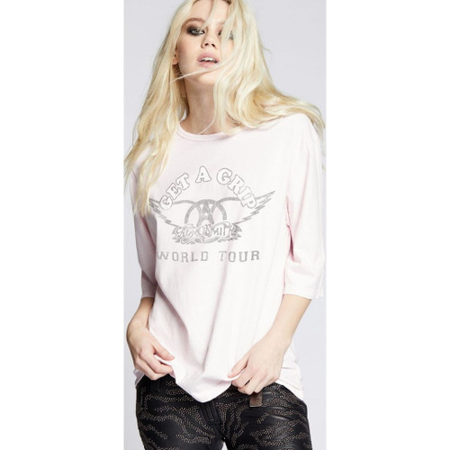 Aerosmith Get a Grip World Tour Women's Pink Vintage Concert T-shirt by Recycled Karma - front