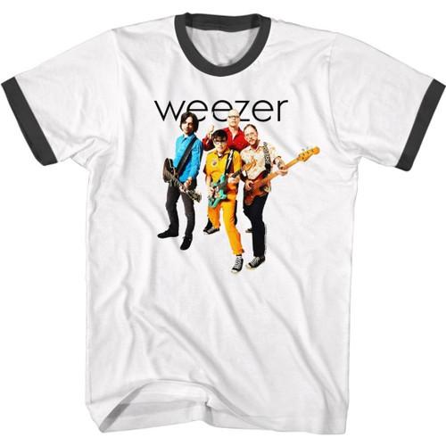 Weezer Logo and Band Photograph Men's Unisex White and Black Ringer Fashion T-shirt