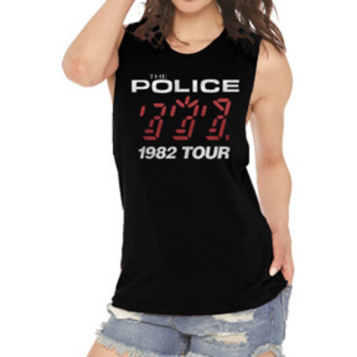 The Police 1982 Tour Women's Black Vintage Fashion Sleeveless Muscle Tank Top Concert T-shirt - model