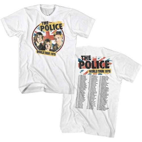 The Police World Tour 1979 Men's Unisex White Vintage Concert T-shirt