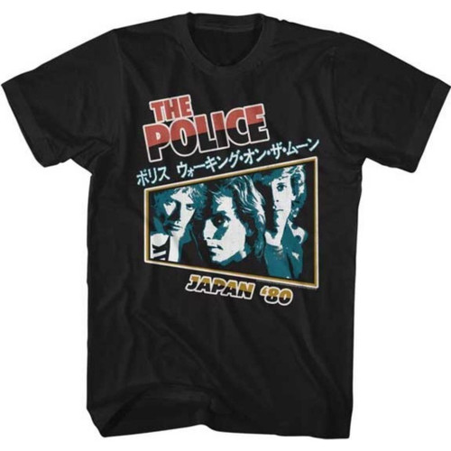 The Police Japan 1980 Men's Unisex Black Classic Concert T-shirt