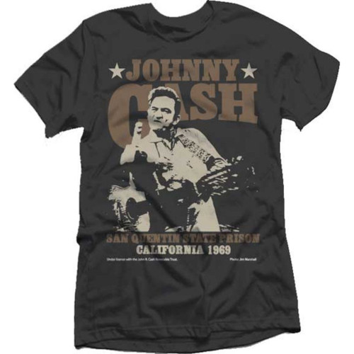 Johnny Cash San Quentin State Prison California 1969 Men's Unisex Black Fashion Concert T-shirt
