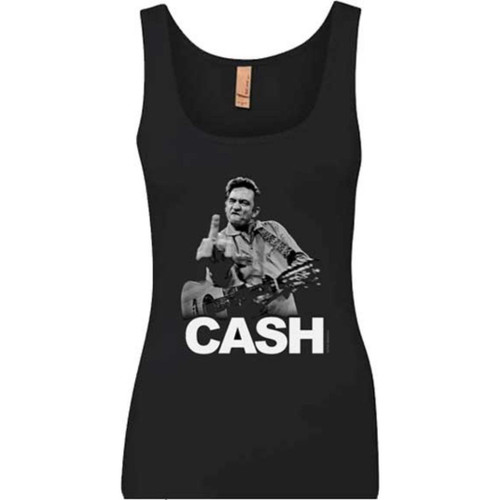 Johnny Cash Middle Finger Photograph Women's Black Sleeveless Tank Top Fashion T-shirt
