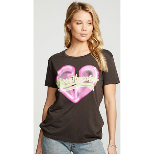 Heartbreaker Women's Vintage Black Fashion T-shirt by Chaser - front