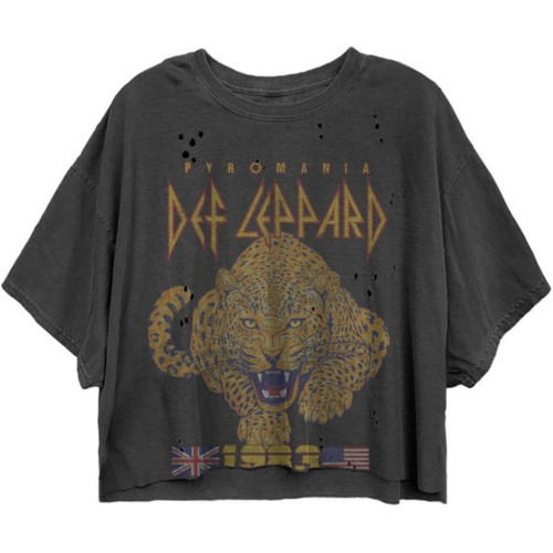 Def Leppard Pyromania Tour 1983 Women's Black Vintage Fashion Oversize Crop Top Concert T-shirt by Dirty Cotton Scoundrels