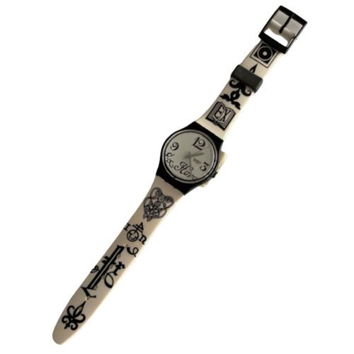 Swatch GB163 Black Letter Vintage Unisex Fashion Watch - front