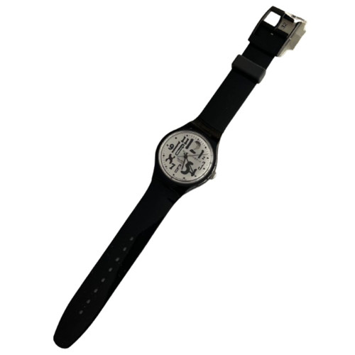 Swatch SAB103 Black Board Vintage Automatic Movement Unisex Fashion Watch - front