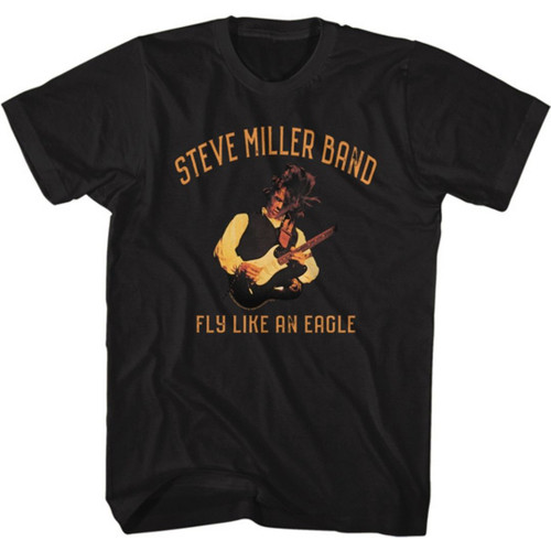 Steve Miller Band Fly Like an Eagle Album Cover Artwork Men's Unisex Black Fashion T-shirt