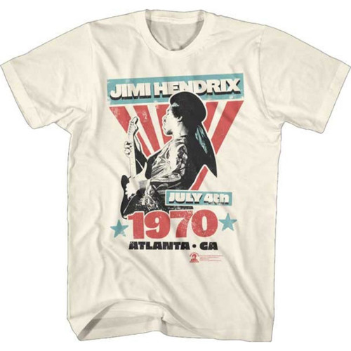 Jimi Hendrix Atlanta International Pop Festival July 4, 1979 Atlanta, Georgia Men's Unisex Beige Vintage Fashion Concert T-shirt