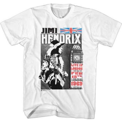 Jimi Hendrix Live in London February 18, 1969 Men's Unisex White Vintage Fashion Concert T-shirt