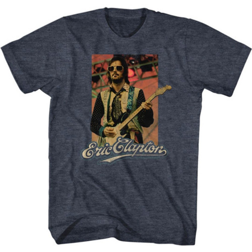 Eric Clapton Classic Photograph and Logo Men's Unisex Blue Fashion T-shirt