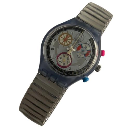 Swatch Chrono SCN110 Powersteel Unisex Vintage Fashion Watch - front