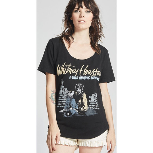 Whitney Houston Image with I Will Always Love You Song Title Women's Black Vintage Fashion T-shirt by Recycled Karma - front 1
