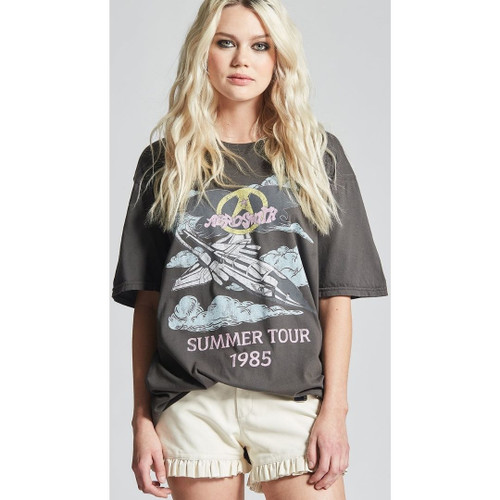 Aerosmith Summer Tour 1985 Women's Black Vintage Fashion Oversize Concert T-shirt by Recycled Karma - front 1