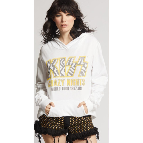 KISS Live in Japan Crazy Nights World Tour 1987-1988 Women's White Vintage Fashion Concert Hoodie Hooded Sweatshirt by Recycled Karma - front 1