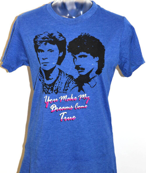 Hall & Oates You Make My Dreams Come True Song Title Women's Vintage Fashion Blue T-shirt