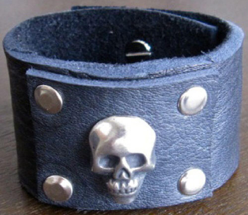 Rocker Rags Black Leather Cuff Bracelet with Nickel Plated Metal Skull