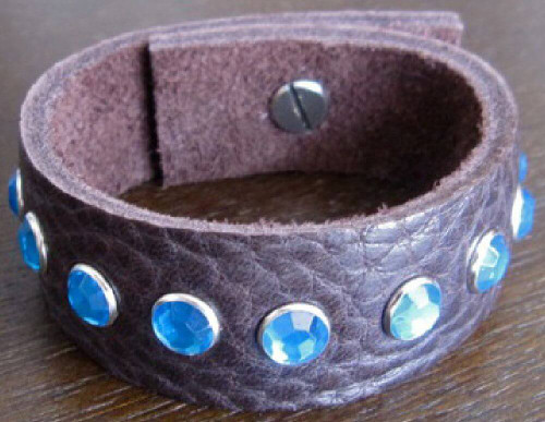 Rocker Rags Chocolate Brown Leather Cuff Bracelet with Small Blue Crystals