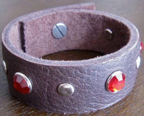 Rocker Rags Chocolate Brown Leather Cuff Bracelet with Red Crystals and Round Metal Studs
