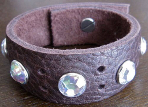 Rocker Rags Chocolate Brown Leather Cuff Bracelet with Large White Crystals