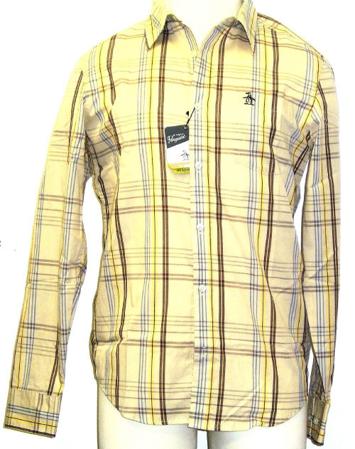 Original Penguin by Munsingwear Firecracker Men's Beige and Plaid Button Up Woven Shirt