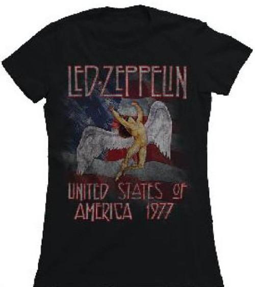 Led Zeppelin United States of America 1977 Tour Women's Vintage Black Concert T-shirt