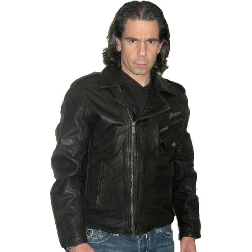 Indian Motorcycle Ranger Biker Black Leather Jacket - front