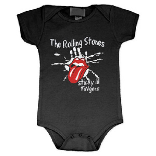 Rolling Stones Sticky Lil Fingers Tongue Logo Baby Onesie Infant One Piece Romper Suit in Black