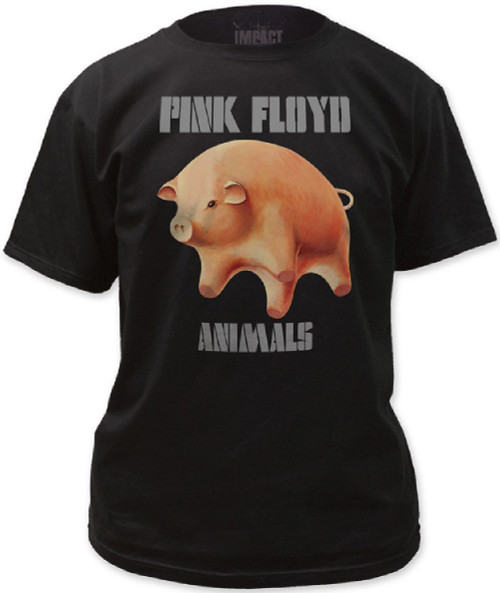Pink Floyd Animals Flying Pig Album Cover Artwork with Album Logo Men's Black T-shirt