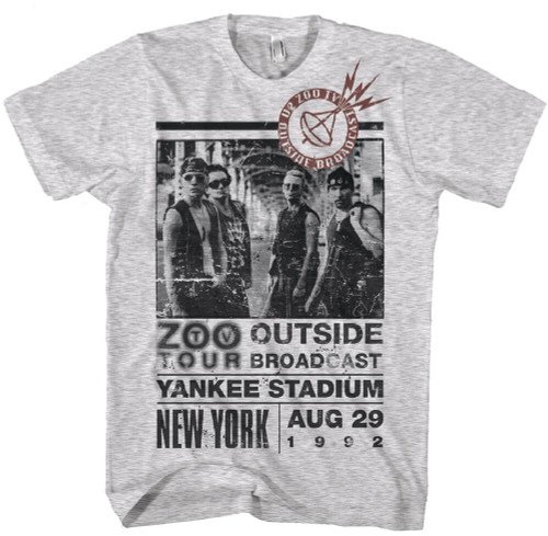 U2 Zoo TV Tour New York Yankee Stadium Men's Gray Vintage Concert T-shirt